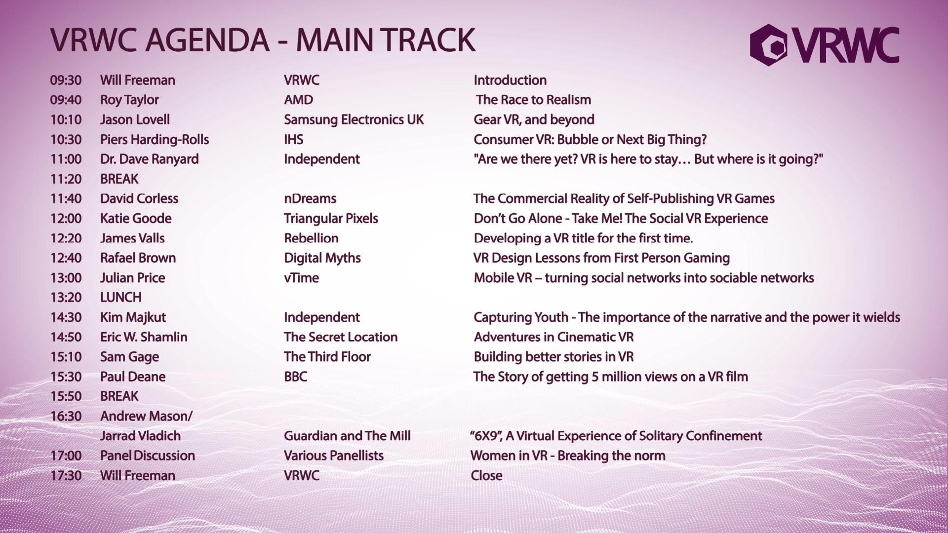 VRWC Conference Agenda